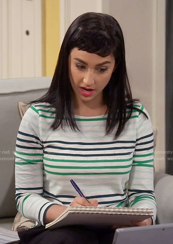 Mandy's green striped top on Last Man Standing