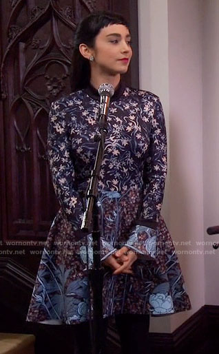 Mandy's mixed floral print long sleeve dress on Last Man Standing
