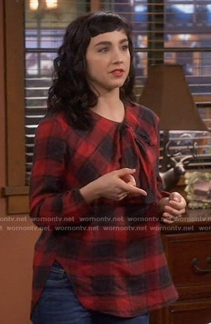 Mandy's red plaid top with bow on Last Man Standing