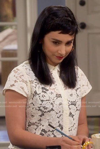 Mandy's off-white lace collared top on Last Man Standing