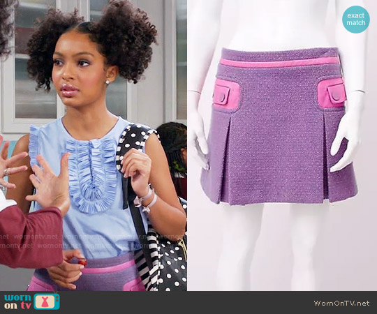 Marc Jacobs Cashmere Tweed and Leather Skirt worn by Zoey Johnson on Blackish