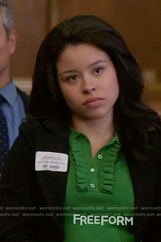 Mariana's green ruffled polo top on The Fosters