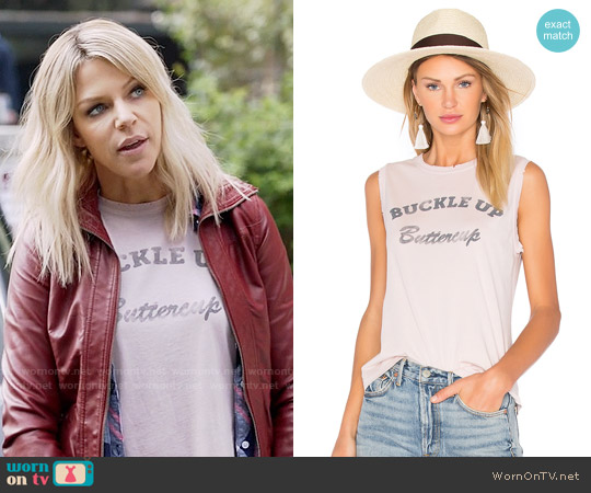 MATE the Label Buckle Up Buttercup Tank worn by Kaitlin Olson on The Mick