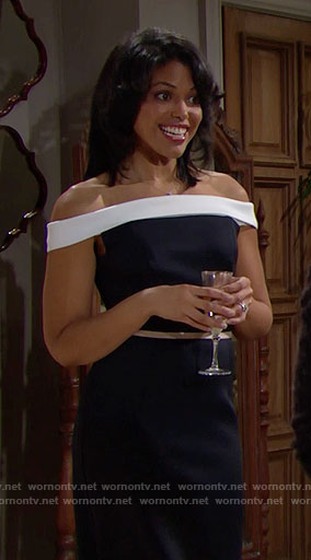 Maya's black and white off-shoulder dress at Nicole's wedding on The Bold and the Beautiful