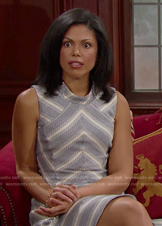 Maya's chevron striped drop-waist dress on The Bold and the Beautiful