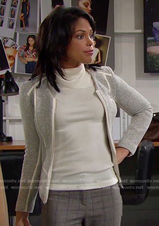 Maya's grey tweed jacket with white trim on The Bold and the Beautiful