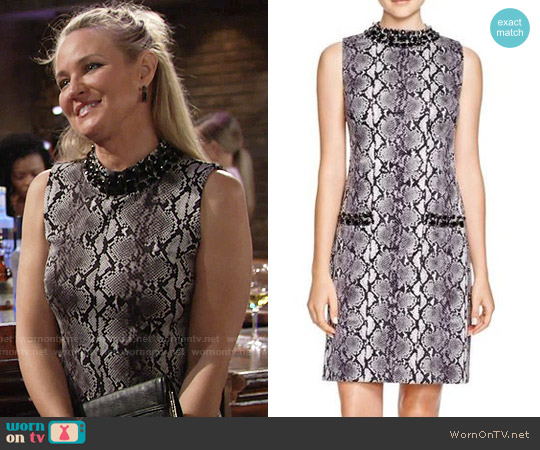 MICHAEL Michael Kors Embellished Snake Print Dress worn by Sharon Case on The Young & the Restless