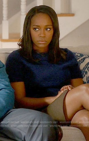 Michaela's navy short sleeved sweater on How to Get Away with Murder