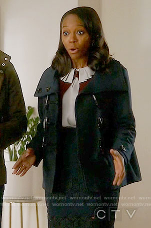 Michaela's navy toggle jacket on How to Get Away with Murder