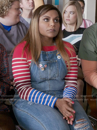 Mindy's denim overalls and red and blue striped top on The Mindy Project