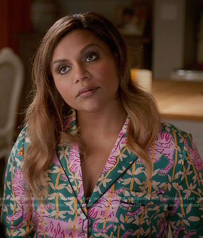 Mindy's green and pink tiger print pajamas on The Mindy Project