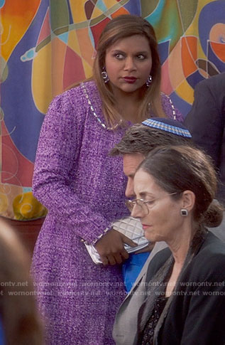 Mindy's purple tweed coat and dress on The Mindy Project