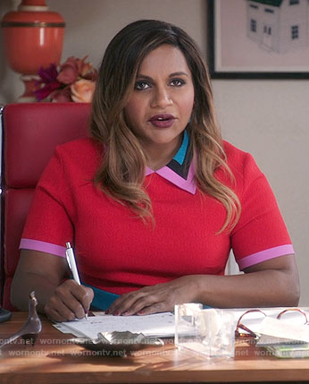Mindy's red collared colorblock dress on The Mindy Project