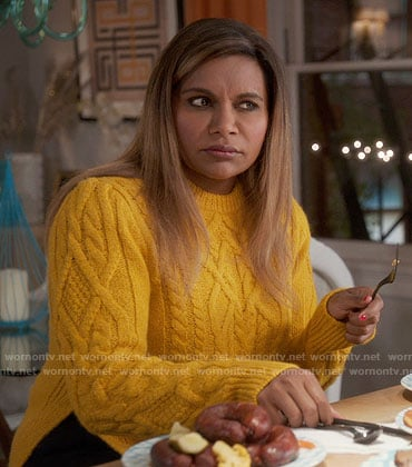 Mindy's yellow cable knit sweater on The Mindy Project