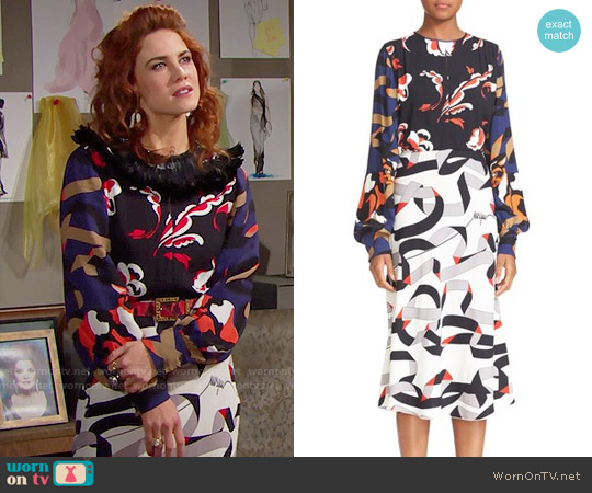 MSGM Print Crepe Dress worn by Sally Spectra (Courtney Hope) on The Bold & the Beautiful