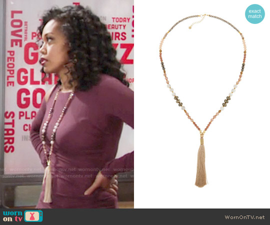 Nakamol Long Beaded Tassel Necklace worn by Hilary Curtis on The Young & the Restless