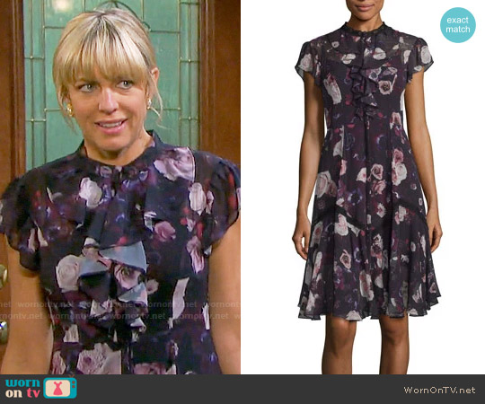 Needle & Thread Victorian Cap-Sleeve Ruffle Dress worn by Nicole Walker (Arianne Zucker) on Days of our Lives