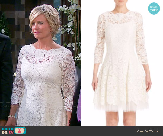 Nha Khanh Solid Lace Scalloped Boatneck Dress worn by Mary Beth Evans on Days of our Lives
