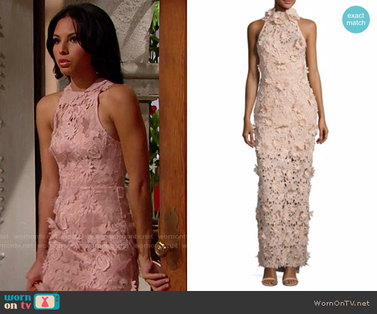Nicholas 3D Lace Halter Gown worn by Sasha Avant (Felisha Cooper) on The Bold & the Beautiful