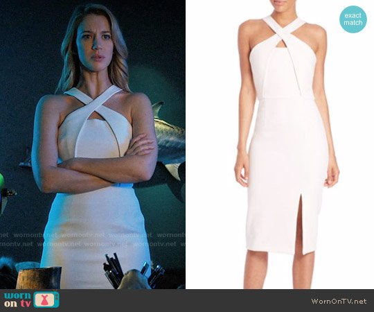 Nicholas Bonded Crepe Cross-Over Dress worn by Petra Solano (Yael Grobglas) on Jane the Virgin