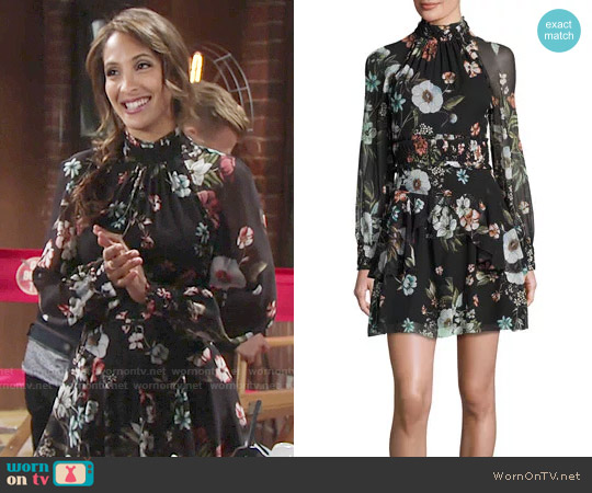 Nicholas Vintage Floral High-Neck Mini Dress worn by Lily Winters (Christel Khalil) on The Young & the Restless