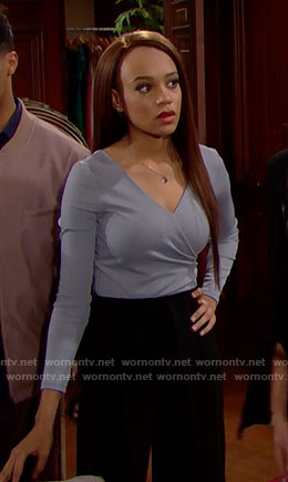 Nicole's blue wrap top on The Bold and the Beautiful