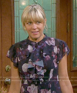 Nicole's floral ruffled dress on Days of our Lives