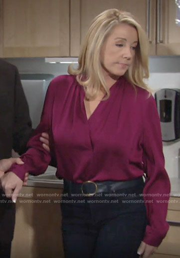 Nikki's magenta v-neck blouse on The Young and the Restless