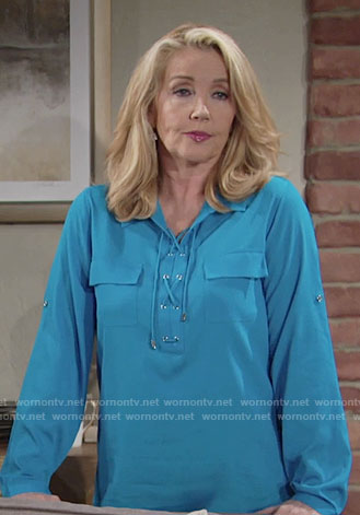 Nikki's blue lace-up blouse on The Young and the Restless