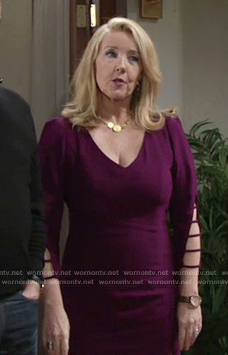 Nikki's purple ladder sleeve dress on The Young and the Restless