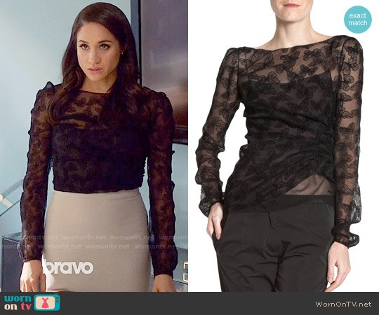Nina Ricci Devore Velvet Butterfly Blouse worn by Meghan Markle on Suits
