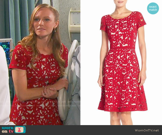 Nue by Shani Laser Cut Crepe Fit & Flare Dress worn by Abigail Deveraux (Kate Mansi) on Days of our Lives