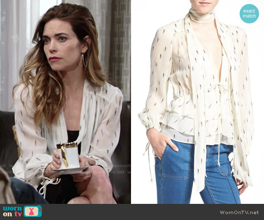 Olivia Palermo + Chelsea28 Tie Neck Peplum Silk Top worn by Victoria Newman (Amelia Heinle) on The Young & the Restless