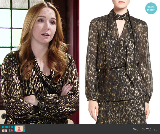 Olivia Palermo + Chelsea28 Tie Neck Blouse worn by Camryn Grimes on The Young & the Restless