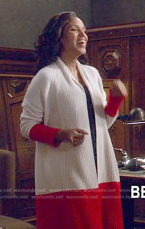 Olivia's red colorblock cardigan on Scandal