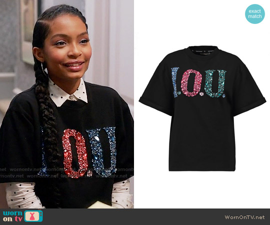 Opening Ceremony I.O.U embellished cotton-jersey sweatshirt worn by Zoey Johnson (Yara Shahidi) on Blackish