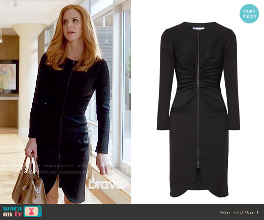 Oscar de la Renta Gathered stretch-wool crepe dress worn by Sarah Rafferty on Suits