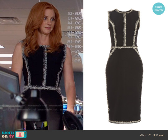 Oscar de la Renta Sleeveless tweed-trimmed pencil dress worn by Sarah Rafferty on Suits