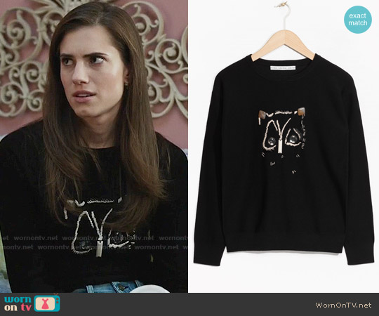 & Other Stories Embroidered Merino Wool Sweater worn by Marnie Michaels (Allison Williams) on Girls