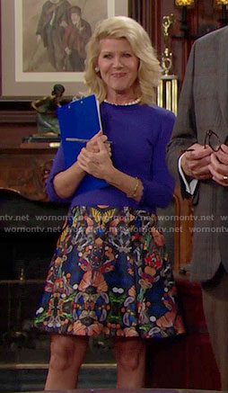 Pam's blue ruffle trim sweater and butterfly print skirt on The Bold and the Beautiful