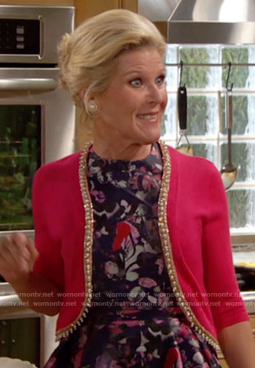 Pam's purple floral gown at Nicole's wedding on The Bold and the Beautiful