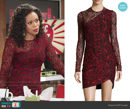 Parker Shadow Long-Sleeve Combo Dress worn by Hilary Curtis (Mishael Morgan) on The Young & the Restless