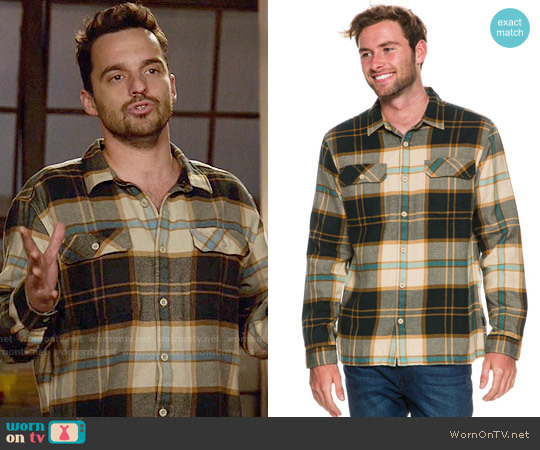 Patagonia Fjord Shirt in El Cap Khaki worn by Nick Miller (Jake Johnson) on New Girl