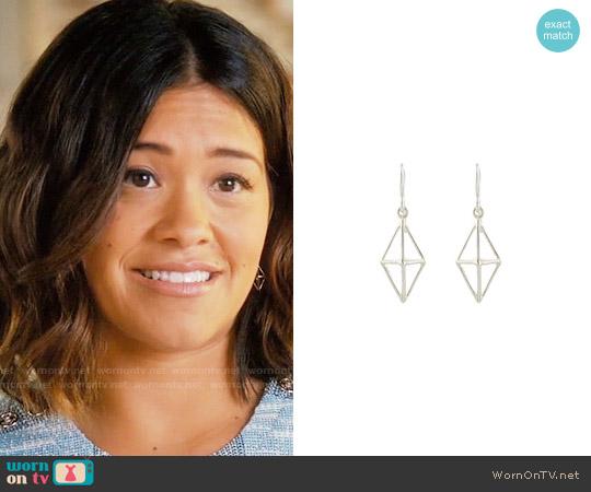 Peggy Li Triangle Cage Earrings worn by Jane Villanueva on Jane the Virgin