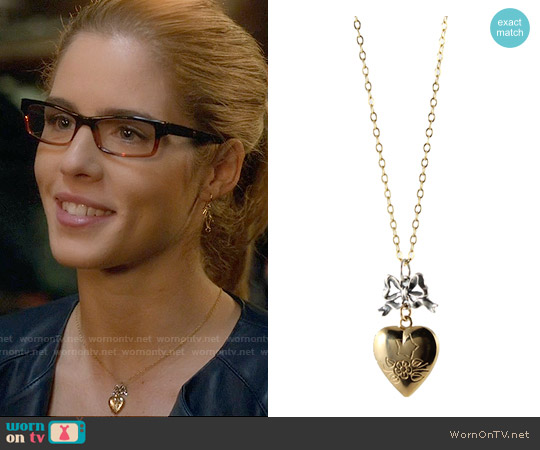 Peggy Li Heart Locket Necklace worn by Emily Bett Rickards on Arrow