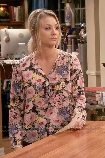 Penny's floral long sleeve blouse on The Big Bang Theory