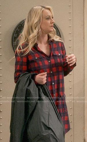 Penny's black butterfly print shirt on The Big Bang Theory