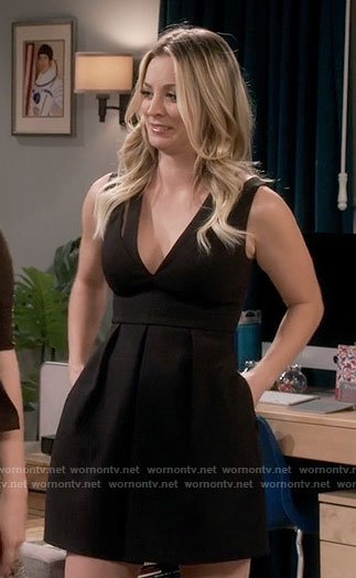 Penny's black v-neck dress on The Big Bang Theory