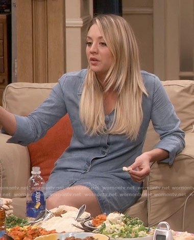 Penny's chambray shirtdress on The Big Bang Theory