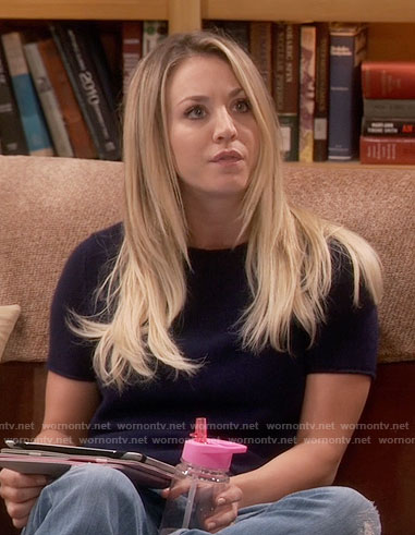 Penny's navy short sleeve sweater on The Big Bang Theory